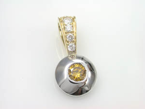 Ladies 18ct Two Tone Diamond Set Pendant.