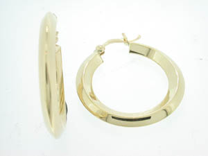 Ladies 9ct Yellow Gold Knife Edge Hoop Earrings.
