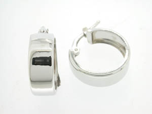 Ladies 9ct White Gold Flat Wide Hoop Earrings.