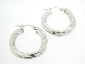 Ladies 9ct White Gold Slight Twist Hoops.