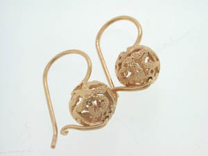 Ladies 9ct Rose Gold Filigree Euro Balls.