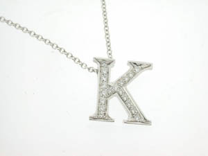 Ladies 18ct White Gold Diamond K Initial Pendant.