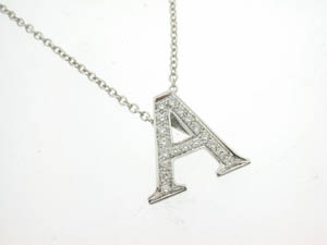 Ladies 18ct White Gold Diamond A Initial Pendant.