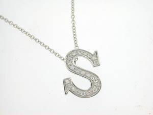 Ladies 18ct White Gold Diamond S Initial Pendant.