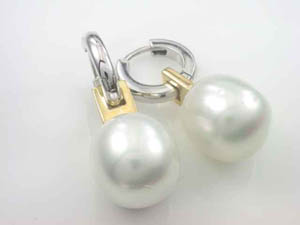 Ladies 18ct Two Tone South Sea Pearl Huggies.