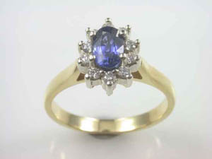 Ladies 18ctY/G Ring Ceylon & diamond Cluster dress ring