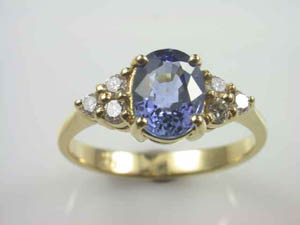 Ladies 18K Y/G Ladies Ceylon Sapphire & Diamond  Ring