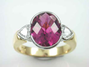 Ladies 18ct Tourmaline & Diamond Dress Ring