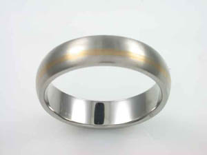 Mens Titanium and Yellow Gold Dress Ring.