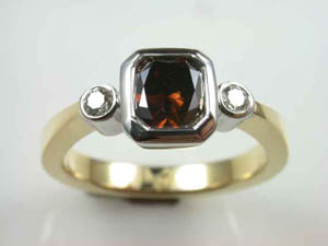Ladies 18ct Cognac Diamond Dress Ring