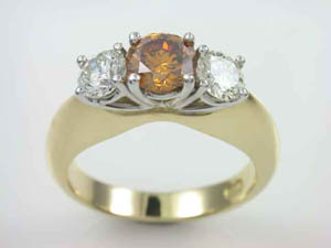 Ladies 18ct Two Tone Fancy Coloured Diamond Dress Ring
