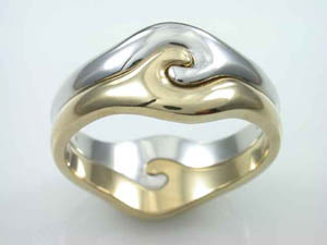Mens 9ct  Two tone  Puzzle dress ring