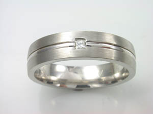 Mens 9ct WG Princess cut Diamond Dress ring