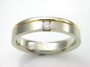 Mens 18ct two tone Diamond set Wedding Ring T.D.W. = 0.10ct