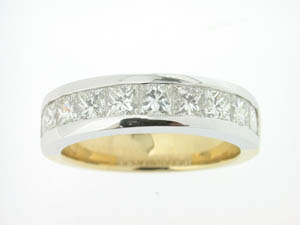 Ladies 18ct Yellow and White Gold Diamond Princess Cut Band.