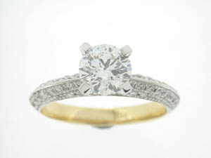 Ladies 18ct Yellow and White Gold Diamond Ring.