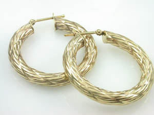 Ladies 9ct Yellow Gold Large Hoops.