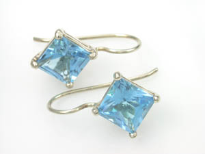Ladies 9ct Blue Topaz Hook Earrings.