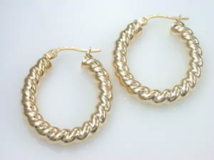 Ladies 9ct Yellow Gold Fancy Hoop Earrings.