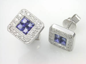 Ladies 18ct Sapphire and Diamond Studs.