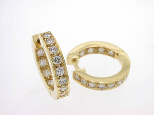 Ladies 18ct Yellow Gold Diamond Set Huggies.