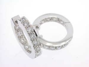 Ladies 18ct White Gold Diamons Set Huggies.