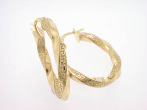 Ladies 9ct Yellow Gold Greek Key Pattern Hoops.