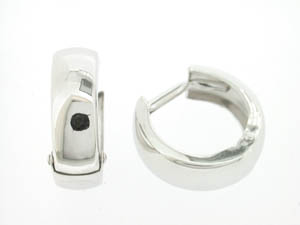 Ladies 9ct White Gold Small Plain Huggies.