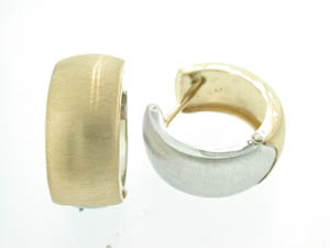 Ladies 9ct Yellow and White Gold Wide Huggies.