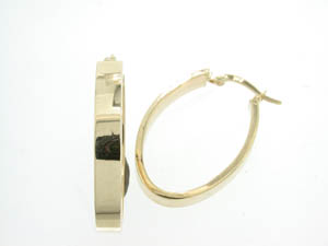 Ladies 9ct Yellow Gold Wide Long Hoop Earrings.