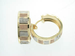 Ladies 9ct Yellow White and Rose Gold Square Framed Hoops.