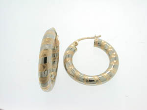 Ladies 9ct Yellow and White Gold Lined Pattern Hoops.