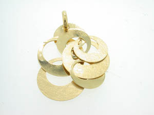 Ladies 18ct Yellow Gold 2 Row Drop Circle Pendant.