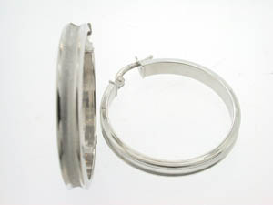 Ladies 18ct Large White Gold Concave Hoops.