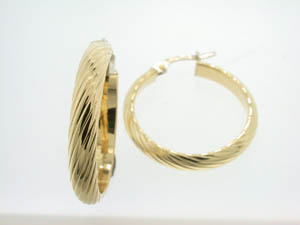 Ladies 18ct Yellow Gold Half Round Twist Hoops.