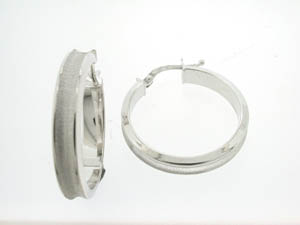 Ladies 18ct Medium White Gold Concave Hoops.