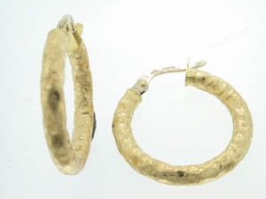 Ladies 18ct Yellow Gold Bark Finish Hoops.