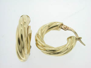 Ladies 18ct Yellow Gold 10mm Twist Hoops.