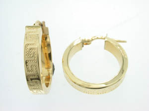 Ladies 18ct Yellow Gold Greek Key Hoops.