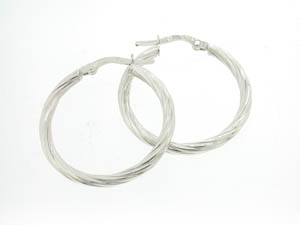 Ladies 18ct White Gold Fine Twist Hoops.