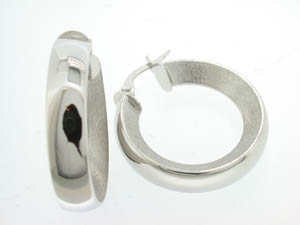 Ladies 18ct White Gold Concave Satin Hoops.