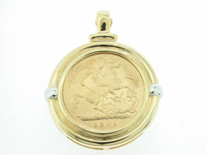 Ladies 9ct Yellow and White Gold Half Sovereign Enhancer.