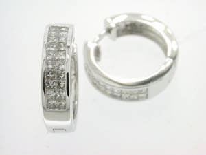 Ladies 18ct White Gold Invisible Diamond Huggies.
