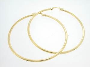 Ladies 9ct Yellow Gold 50mm Hoop Earrings.