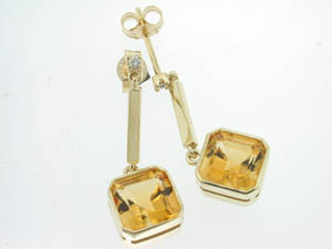 Ladies 9ct Yellow Gold Diamond and Citrine Drop Stud Earrings.