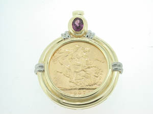 Ladies 9ct Yellow and White Gold Full Soveriegn Enhancer.