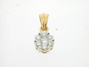 Ladies 18ct Yellow and White Gold Diamond Flower Pendant.