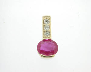 Ladies Diamond and Ruby Drop Pendant.
