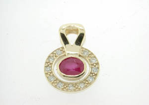 Ladies 9ct Yellow Gold Diamond and Ruby Set Pendant.