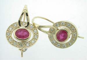 Ladies 9ct Yellow Gold Diamond and Ruby Earrings.